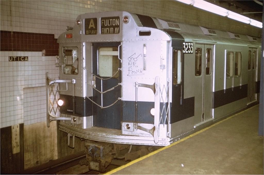 (174k, 1024x679)<br><b>Country:</b> United States<br><b>City:</b> New York<br><b>System:</b> New York City Transit<br><b>Line:</b> IND Fulton Street Line<br><b>Location:</b> Utica Avenue <br><b>Route:</b> A<br><b>Car:</b> R-10 (American Car & Foundry, 1948) 3233 <br><b>Photo by:</b> Joe Testagrose<br><b>Date:</b> 12/22/1971<br><b>Viewed (this week/total):</b> 0 / 4897