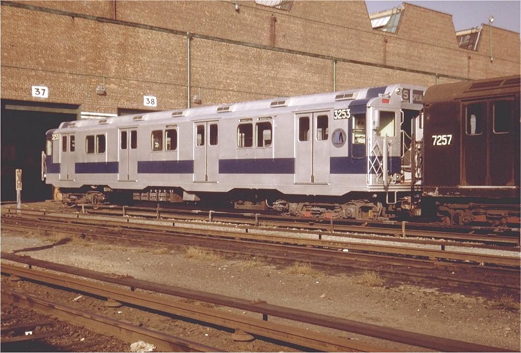 (248k, 1024x695)<br><b>Country:</b> United States<br><b>City:</b> New York<br><b>System:</b> New York City Transit<br><b>Location:</b> Coney Island Yard<br><b>Car:</b> R-10 (American Car & Foundry, 1948) 3253 <br><b>Photo by:</b> Steve Zabel<br><b>Collection of:</b> Joe Testagrose<br><b>Date:</b> 10/1971<br><b>Viewed (this week/total):</b> 0 / 2919