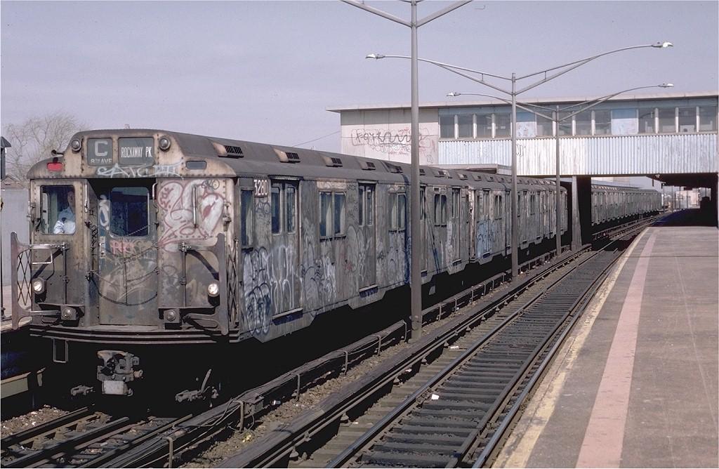 (210k, 1024x668)<br><b>Country:</b> United States<br><b>City:</b> New York<br><b>System:</b> New York City Transit<br><b>Line:</b> IND Rockaway<br><b>Location:</b> Broad Channel <br><b>Route:</b> C<br><b>Car:</b> R-10 (American Car & Foundry, 1948) 3280 <br><b>Photo by:</b> Eric Oszustowicz<br><b>Collection of:</b> Joe Testagrose<br><b>Date:</b> 4/3/1987<br><b>Viewed (this week/total):</b> 8 / 5833