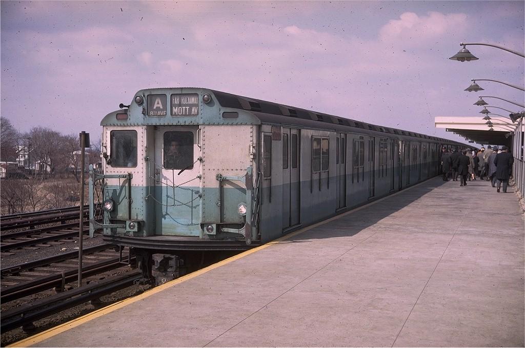 (203k, 1024x679)<br><b>Country:</b> United States<br><b>City:</b> New York<br><b>System:</b> New York City Transit<br><b>Line:</b> IND Rockaway<br><b>Location:</b> Aqueduct Racetrack <br><b>Route:</b> A<br><b>Car:</b> R-10 (American Car & Foundry, 1948) 3285 <br><b>Photo by:</b> Doug Grotjahn<br><b>Collection of:</b> Joe Testagrose<br><b>Date:</b> 3/15/1969<br><b>Viewed (this week/total):</b> 2 / 5617