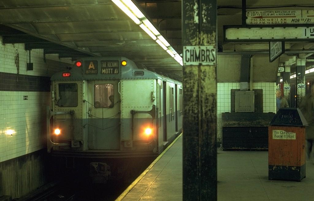 (167k, 1024x658)<br><b>Country:</b> United States<br><b>City:</b> New York<br><b>System:</b> New York City Transit<br><b>Line:</b> IND 8th Avenue Line<br><b>Location:</b> Chambers Street/World Trade Center <br><b>Route:</b> A<br><b>Car:</b> R-10 (American Car & Foundry, 1948) 3290 <br><b>Photo by:</b> Joe Testagrose<br><b>Date:</b> 10/25/1969<br><b>Viewed (this week/total):</b> 6 / 4184