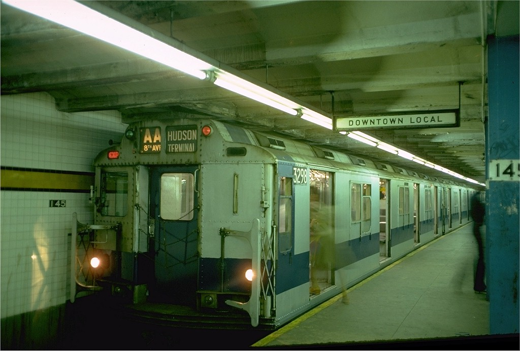 (161k, 1024x692)<br><b>Country:</b> United States<br><b>City:</b> New York<br><b>System:</b> New York City Transit<br><b>Line:</b> IND 8th Avenue Line<br><b>Location:</b> 145th Street <br><b>Route:</b> AA<br><b>Car:</b> R-10 (American Car & Foundry, 1948) 3298 <br><b>Photo by:</b> Doug Grotjahn<br><b>Collection of:</b> Joe Testagrose<br><b>Date:</b> 10/25/1976<br><b>Viewed (this week/total):</b> 8 / 6151
