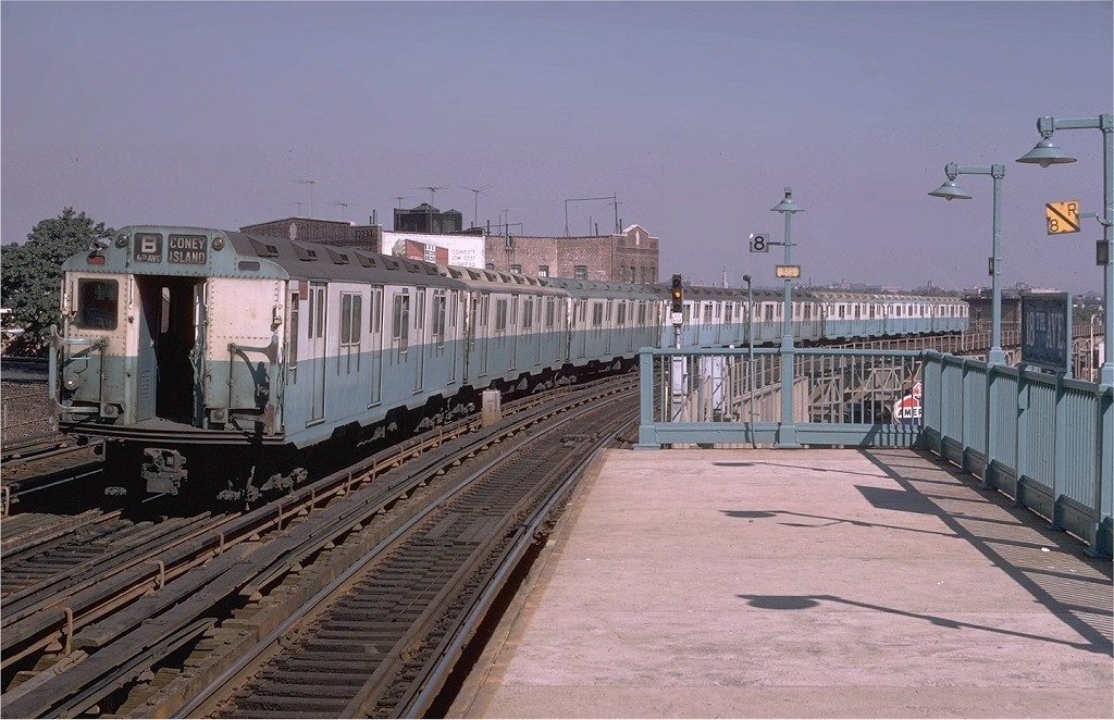 (188k, 1024x662)<br><b>Country:</b> United States<br><b>City:</b> New York<br><b>System:</b> New York City Transit<br><b>Line:</b> BMT West End Line<br><b>Location:</b> 18th Avenue <br><b>Route:</b> B<br><b>Car:</b> R-10 (American Car & Foundry, 1948) 3310 <br><b>Photo by:</b> Doug Grotjahn<br><b>Collection of:</b> Joe Testagrose<br><b>Date:</b> 9/23/1969<br><b>Viewed (this week/total):</b> 7 / 6235