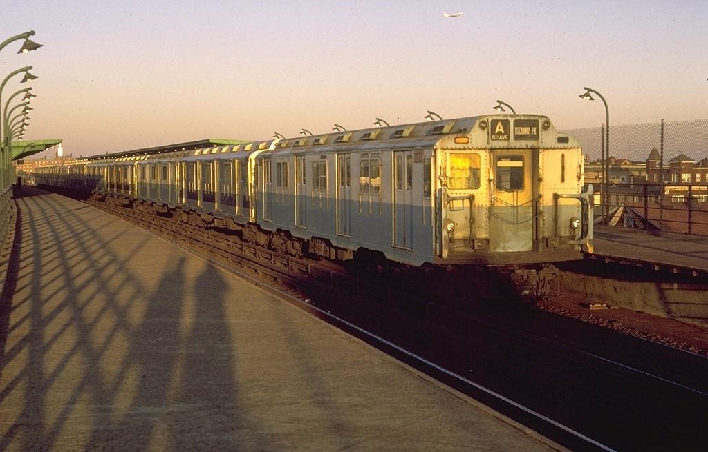 (169k, 1024x655)<br><b>Country:</b> United States<br><b>City:</b> New York<br><b>System:</b> New York City Transit<br><b>Line:</b> IND Rockaway<br><b>Location:</b> Beach 90th Street/Holland <br><b>Route:</b> A<br><b>Car:</b> R-10 (American Car & Foundry, 1948) 3319 <br><b>Photo by:</b> Joe Testagrose<br><b>Date:</b> 10/18/1971<br><b>Viewed (this week/total):</b> 0 / 4919
