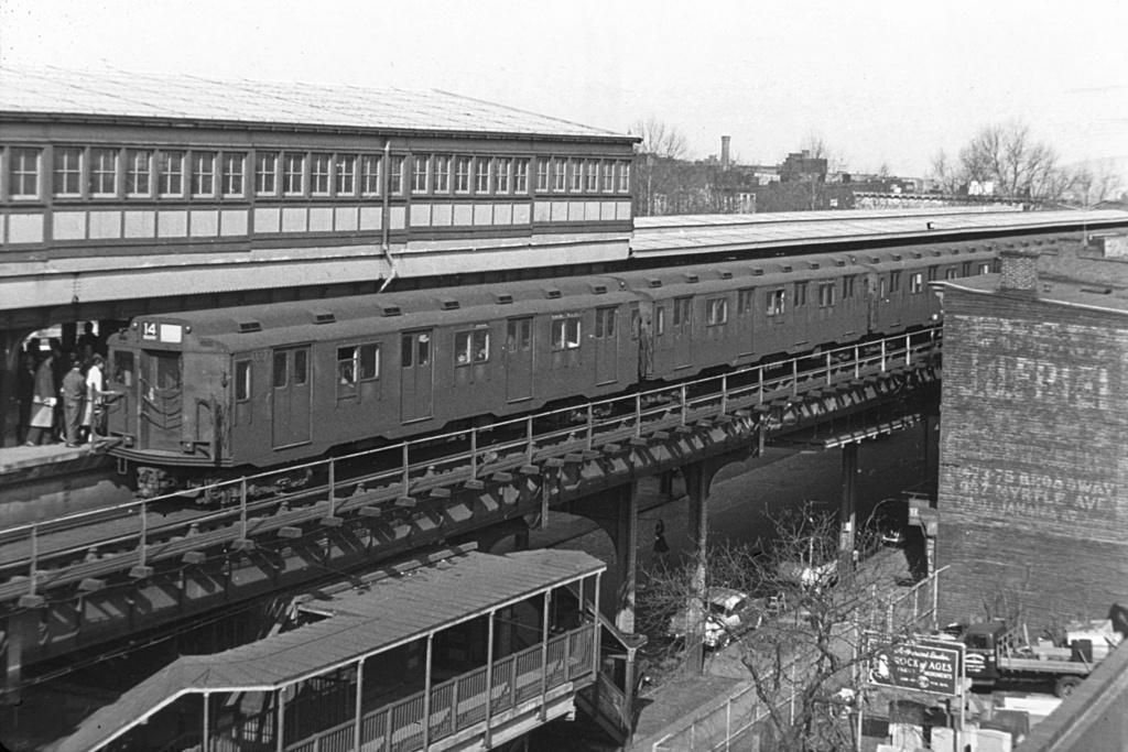(266k, 1024x683)<br><b>Country:</b> United States<br><b>City:</b> New York<br><b>System:</b> New York City Transit<br><b>Line:</b> BMT Nassau Street/Jamaica Line<br><b>Location:</b> Broadway/East New York (Broadway Junction) <br><b>Route:</b> 14<br><b>Car:</b> R-10 (American Car & Foundry, 1948) 3327 <br><b>Collection of:</b> David Pirmann<br><b>Viewed (this week/total):</b> 0 / 4778