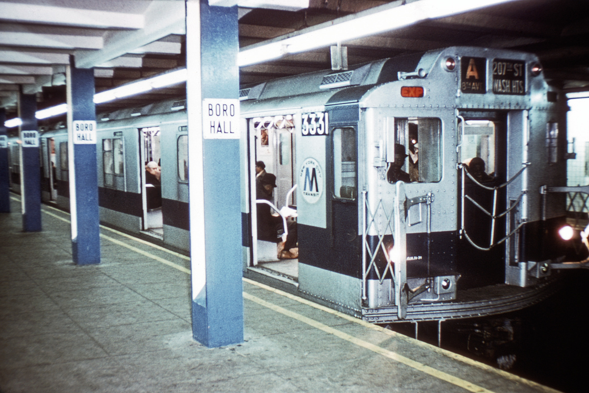 (360k, 1024x683)<br><b>Country:</b> United States<br><b>City:</b> New York<br><b>System:</b> New York City Transit<br><b>Line:</b> IND 8th Avenue Line<br><b>Location:</b> Jay St./Metrotech (Borough Hall) <br><b>Route:</b> A<br><b>Car:</b> R-10 (American Car & Foundry, 1948) 3331 <br><b>Collection of:</b> David Pirmann<br><b>Date:</b> 1/5/1972<br><b>Viewed (this week/total):</b> 6 / 5007