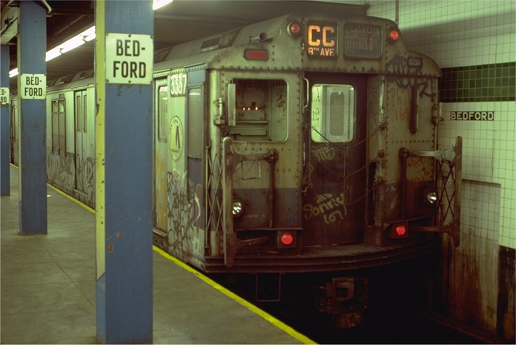 (171k, 1024x684)<br><b>Country:</b> United States<br><b>City:</b> New York<br><b>System:</b> New York City Transit<br><b>Line:</b> IND Concourse Line<br><b>Location:</b> Bedford Park Boulevard <br><b>Route:</b> CC<br><b>Car:</b> R-10 (American Car & Foundry, 1948) 3337 <br><b>Collection of:</b> Joe Testagrose<br><b>Date:</b> 8/8/1980<br><b>Viewed (this week/total):</b> 0 / 4721