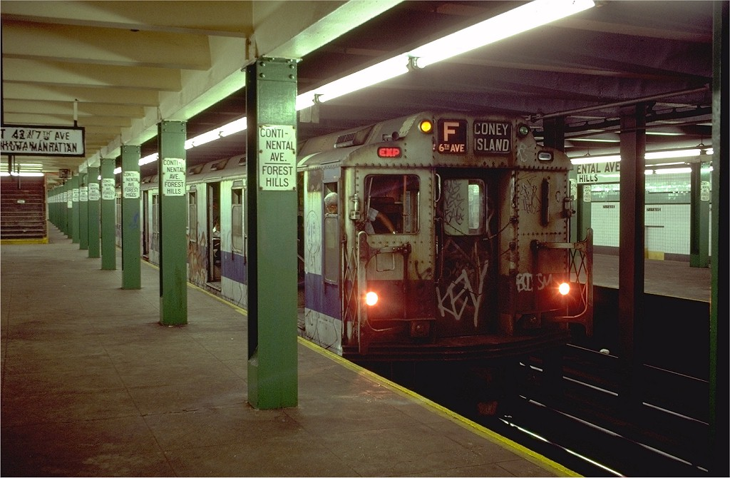 (180k, 1024x670)<br><b>Country:</b> United States<br><b>City:</b> New York<br><b>System:</b> New York City Transit<br><b>Line:</b> IND Queens Boulevard Line<br><b>Location:</b> 71st/Continental Aves./Forest Hills <br><b>Route:</b> F<br><b>Car:</b> R-10 (American Car & Foundry, 1948)  <br><b>Photo by:</b> Doug Grotjahn<br><b>Collection of:</b> Joe Testagrose<br><b>Date:</b> 8/11/1980<br><b>Viewed (this week/total):</b> 0 / 8147