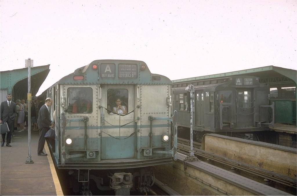 (142k, 1024x675)<br><b>Country:</b> United States<br><b>City:</b> New York<br><b>System:</b> New York City Transit<br><b>Line:</b> IND Fulton Street Line<br><b>Location:</b> Rockaway Boulevard <br><b>Route:</b> A<br><b>Car:</b> R-10 (American Car & Foundry, 1948)  <br><b>Photo by:</b> Doug Grotjahn<br><b>Collection of:</b> Joe Testagrose<br><b>Date:</b> 7/17/1967<br><b>Viewed (this week/total):</b> 2 / 5071