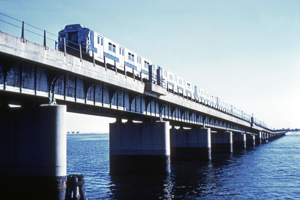 (326k, 1044x684)<br><b>Country:</b> United States<br><b>City:</b> New York<br><b>System:</b> New York City Transit<br><b>Line:</b> IND Rockaway<br><b>Location:</b> Jamaica Bay Crossing<br><b>Route:</b> A<br><b>Car:</b> R-10 (American Car & Foundry, 1948)  <br><b>Collection of:</b> David Pirmann<br><b>Viewed (this week/total):</b> 6 / 4768