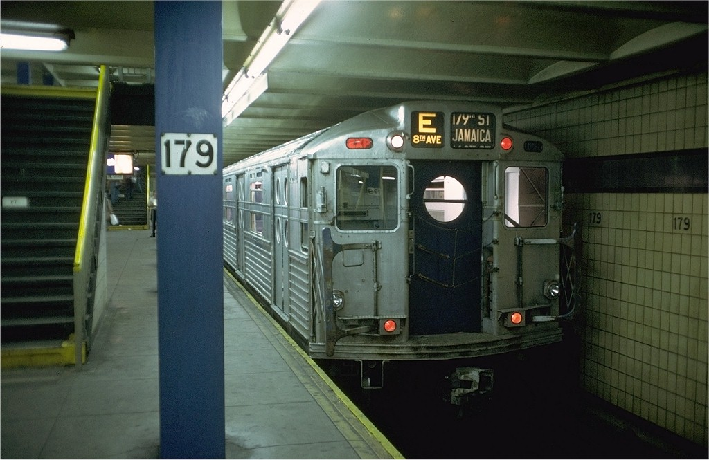 (169k, 1024x665)<br><b>Country:</b> United States<br><b>City:</b> New York<br><b>System:</b> New York City Transit<br><b>Line:</b> IND Queens Boulevard Line<br><b>Location:</b> 179th Street <br><b>Route:</b> Fan Trip<br><b>Car:</b> R-11 (Budd, 1949) 8013 <br><b>Photo by:</b> Doug Grotjahn<br><b>Collection of:</b> Joe Testagrose<br><b>Date:</b> 9/21/1975<br><b>Viewed (this week/total):</b> 0 / 6318