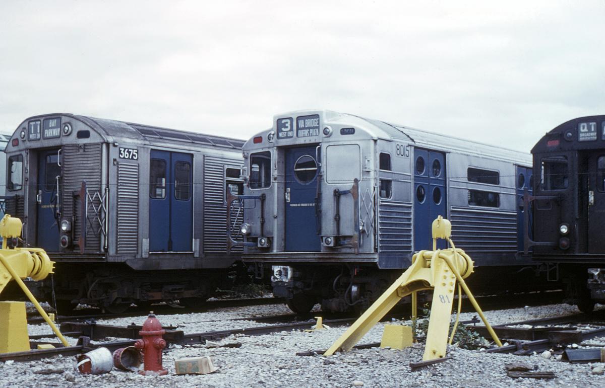 (375k, 1024x683)<br><b>Country:</b> United States<br><b>City:</b> New York<br><b>System:</b> New York City Transit<br><b>Location:</b> Coney Island Yard<br><b>Car:</b> R-11 (Budd, 1949) 8015 <br><b>Photo by:</b> Steve Hoskins<br><b>Collection of:</b> David Pirmann<br><b>Date:</b> 9/1967<br><b>Viewed (this week/total):</b> 4 / 3086