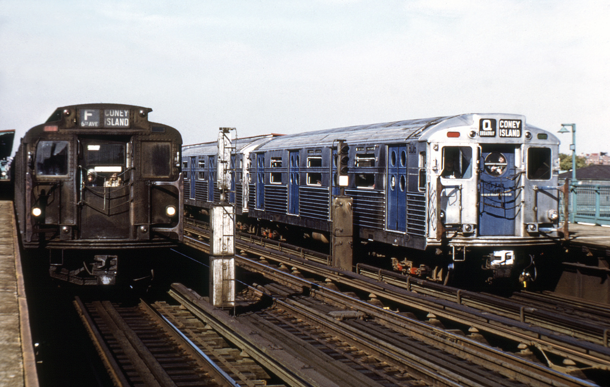 (455k, 1024x683)<br><b>Country:</b> United States<br><b>City:</b> New York<br><b>System:</b> New York City Transit<br><b>Line:</b> BMT Culver Line<br><b>Location:</b> Bay Parkway (22nd Avenue) <br><b>Route:</b> Fan Trip<br><b>Car:</b> R-11 (Budd, 1949) 8016 <br><b>Photo by:</b> Joe Testagrose<br><b>Collection of:</b> David Pirmann<br><b>Date:</b> 10/21/1972<br><b>Notes:</b> With R6 1304<br><b>Viewed (this week/total):</b> 6 / 5614