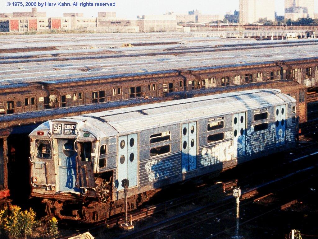(227k, 1024x768)<br><b>Country:</b> United States<br><b>City:</b> New York<br><b>System:</b> New York City Transit<br><b>Location:</b> Coney Island Yard<br><b>Car:</b> R-11 (Budd, 1949) 8016 <br><b>Photo by:</b> Harv Kahn<br><b>Date:</b> 10/12/1975<br><b>Notes:</b> With R-types, ready for scrapping<br><b>Viewed (this week/total):</b> 3 / 15430