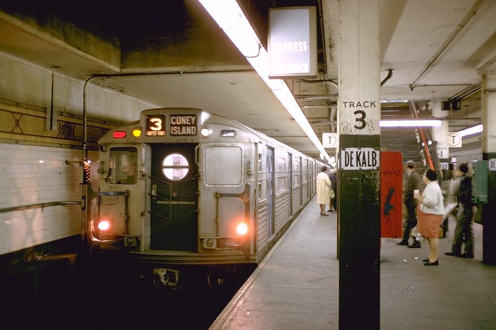 (169k, 1024x682)<br><b>Country:</b> United States<br><b>City:</b> New York<br><b>System:</b> New York City Transit<br><b>Location:</b> DeKalb Avenue<br><b>Route:</b> B<br><b>Car:</b> R-11 (Budd, 1949) 8017 <br><b>Photo by:</b> Doug Grotjahn<br><b>Collection of:</b> Joe Testagrose<br><b>Date:</b> 10/12/1968<br><b>Viewed (this week/total):</b> 2 / 5204