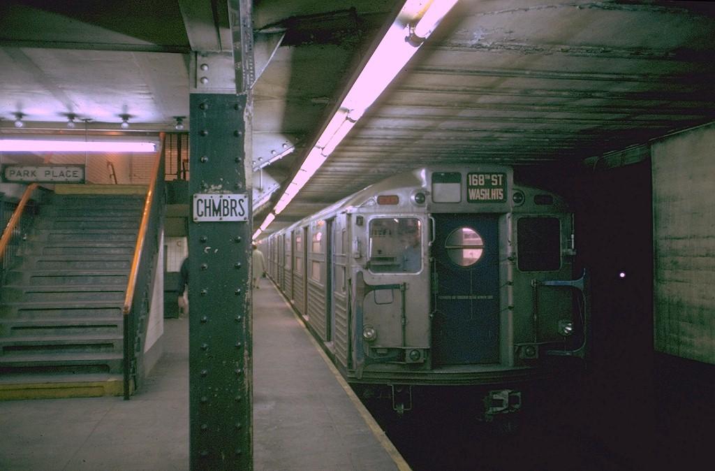 (176k, 1024x674)<br><b>Country:</b> United States<br><b>City:</b> New York<br><b>System:</b> New York City Transit<br><b>Line:</b> IND 8th Avenue Line<br><b>Location:</b> Chambers Street/World Trade Center <br><b>Route:</b> AA<br><b>Car:</b> R-11 (Budd, 1949) 8018 <br><b>Photo by:</b> Doug Grotjahn<br><b>Collection of:</b> Joe Testagrose<br><b>Date:</b> 9/9/1969<br><b>Viewed (this week/total):</b> 2 / 6142