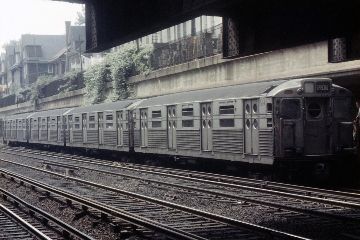 (399k, 1044x709)<br><b>Country:</b> United States<br><b>City:</b> New York<br><b>System:</b> New York City Transit<br><b>Line:</b> BMT Brighton Line<br><b>Location:</b> Cortelyou Road <br><b>Route:</b> Fan Trip<br><b>Car:</b> R-11 (Budd, 1949) 8013 <br><b>Collection of:</b> David Pirmann<br><b>Date:</b> 5/26/1957<br><b>Viewed (this week/total):</b> 6 / 4679