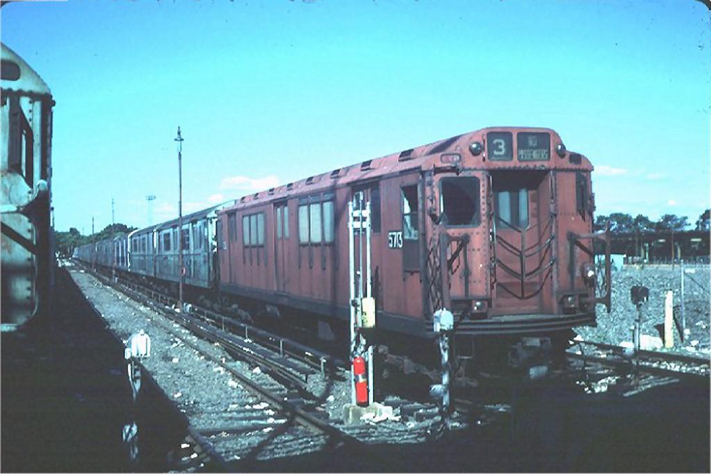 (146k, 1024x683)<br><b>Country:</b> United States<br><b>City:</b> New York<br><b>System:</b> New York City Transit<br><b>Location:</b> Corona Yard<br><b>Car:</b> R-12 (American Car & Foundry, 1948) 5713 <br><b>Photo by:</b> Steve Zabel<br><b>Collection of:</b> Joe Testagrose<br><b>Date:</b> 6/7/1981<br><b>Viewed (this week/total):</b> 3 / 4446