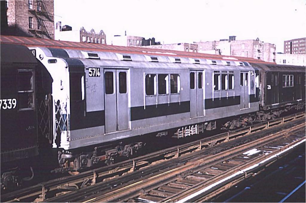 (170k, 1024x681)<br><b>Country:</b> United States<br><b>City:</b> New York<br><b>System:</b> New York City Transit<br><b>Line:</b> IRT West Side Line<br><b>Location:</b> 225th Street <br><b>Route:</b> 1<br><b>Car:</b> R-12 (American Car & Foundry, 1948) 5714 <br><b>Photo by:</b> Joe Testagrose<br><b>Date:</b> 1/3/1971<br><b>Viewed (this week/total):</b> 0 / 2807
