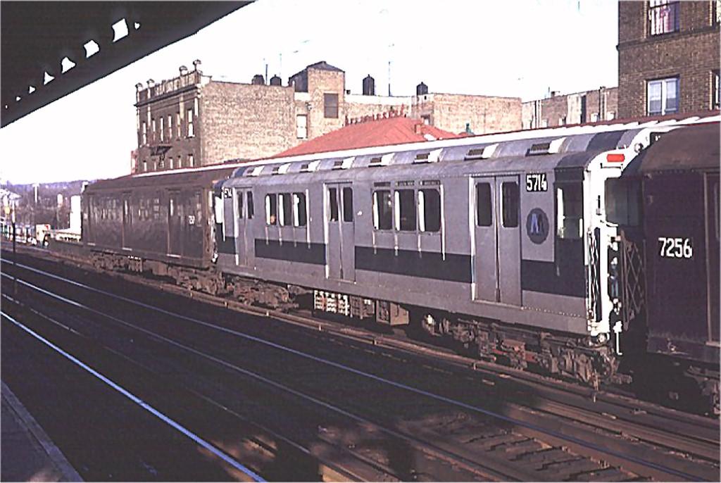 (171k, 1024x686)<br><b>Country:</b> United States<br><b>City:</b> New York<br><b>System:</b> New York City Transit<br><b>Line:</b> IRT West Side Line<br><b>Location:</b> 238th Street <br><b>Route:</b> 1<br><b>Car:</b> R-12 (American Car & Foundry, 1948) 5714 <br><b>Photo by:</b> Doug Grotjahn<br><b>Collection of:</b> Joe Testagrose<br><b>Date:</b> 1/3/1971<br><b>Viewed (this week/total):</b> 0 / 2851