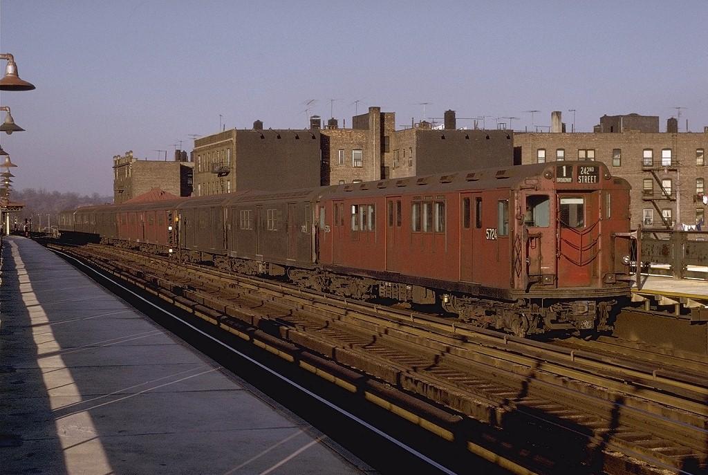 (222k, 1024x687)<br><b>Country:</b> United States<br><b>City:</b> New York<br><b>System:</b> New York City Transit<br><b>Line:</b> IRT West Side Line<br><b>Location:</b> 238th Street <br><b>Route:</b> 1<br><b>Car:</b> R-12 (American Car & Foundry, 1948) 5724 <br><b>Photo by:</b> Joe Testagrose<br><b>Date:</b> 2/6/1971<br><b>Viewed (this week/total):</b> 4 / 2781