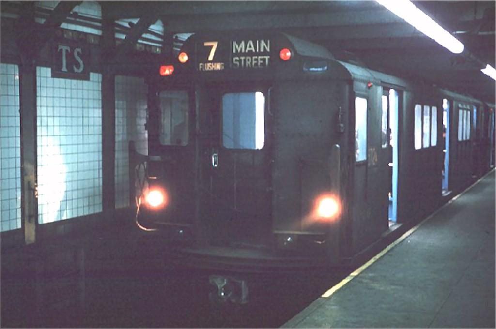 (109k, 1024x680)<br><b>Country:</b> United States<br><b>City:</b> New York<br><b>System:</b> New York City Transit<br><b>Line:</b> IRT Flushing Line<br><b>Location:</b> Times Square <br><b>Route:</b> 7<br><b>Car:</b> R-12 (American Car & Foundry, 1948) 5724 <br><b>Collection of:</b> Joe Testagrose<br><b>Date:</b> 3/20/1964<br><b>Viewed (this week/total):</b> 2 / 6161