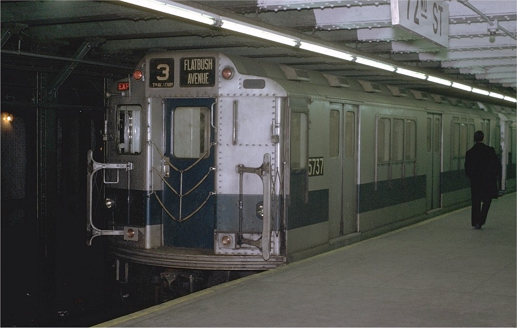 (180k, 1024x650)<br><b>Country:</b> United States<br><b>City:</b> New York<br><b>System:</b> New York City Transit<br><b>Line:</b> IRT West Side Line<br><b>Location:</b> 72nd Street <br><b>Route:</b> 3<br><b>Car:</b> R-12 (American Car & Foundry, 1948) 5737 <br><b>Photo by:</b> Joe Testagrose<br><b>Date:</b> 1/23/1971<br><b>Viewed (this week/total):</b> 1 / 3205