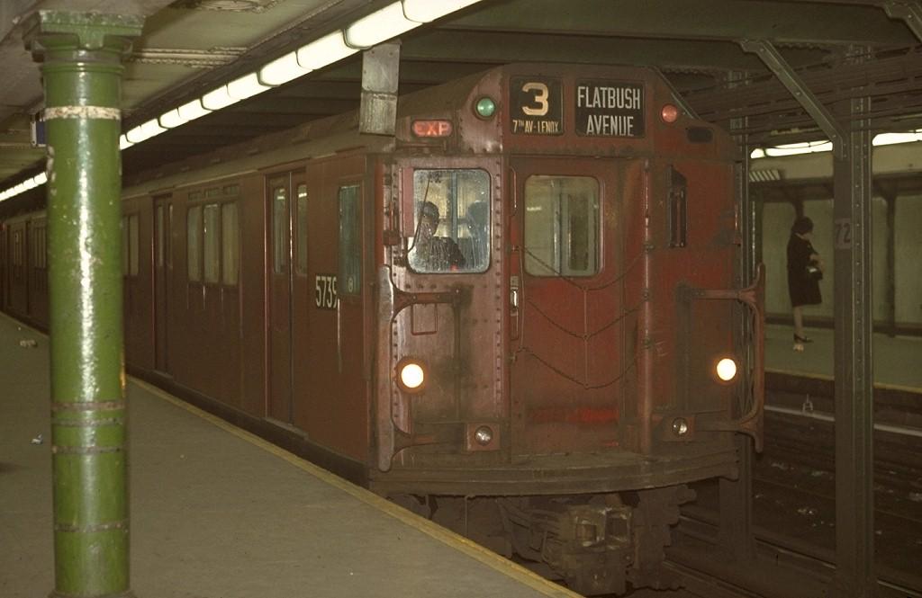 (138k, 1024x665)<br><b>Country:</b> United States<br><b>City:</b> New York<br><b>System:</b> New York City Transit<br><b>Line:</b> IRT West Side Line<br><b>Location:</b> 72nd Street <br><b>Route:</b> 3<br><b>Car:</b> R-12 (American Car & Foundry, 1948) 5739 <br><b>Photo by:</b> Joe Testagrose<br><b>Date:</b> 4/4/1970<br><b>Viewed (this week/total):</b> 3 / 3716