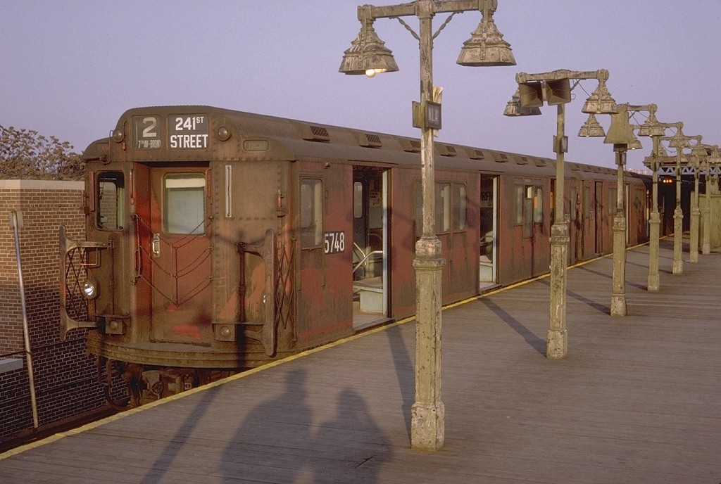 (182k, 1024x688)<br><b>Country:</b> United States<br><b>City:</b> New York<br><b>System:</b> New York City Transit<br><b>Line:</b> IRT Brooklyn Line<br><b>Location:</b> New Lots Avenue <br><b>Route:</b> 2<br><b>Car:</b> R-12 (American Car & Foundry, 1948) 5748 <br><b>Photo by:</b> Doug Grotjahn<br><b>Collection of:</b> Joe Testagrose<br><b>Date:</b> 11/8/1970<br><b>Viewed (this week/total):</b> 3 / 9064