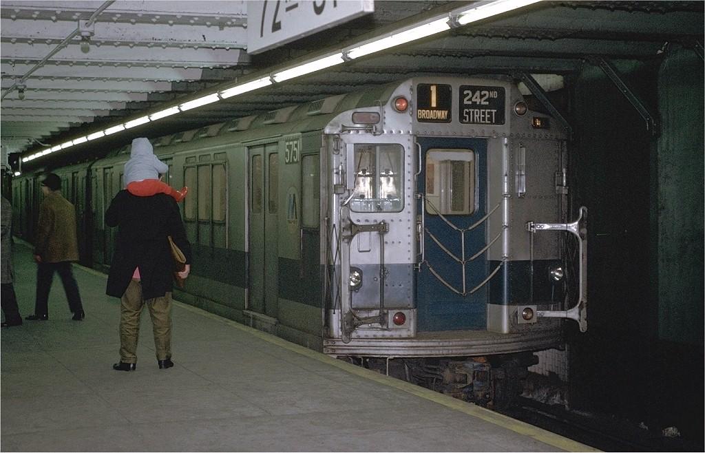 (203k, 1024x658)<br><b>Country:</b> United States<br><b>City:</b> New York<br><b>System:</b> New York City Transit<br><b>Line:</b> IRT West Side Line<br><b>Location:</b> 72nd Street <br><b>Route:</b> 1<br><b>Car:</b> R-12 (American Car & Foundry, 1948) 5751 <br><b>Photo by:</b> Joe Testagrose<br><b>Date:</b> 1/23/1971<br><b>Viewed (this week/total):</b> 3 / 3697