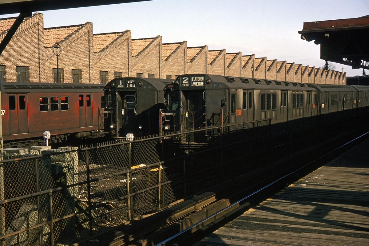 (448k, 1024x683)<br><b>Country:</b> United States<br><b>City:</b> New York<br><b>System:</b> New York City Transit<br><b>Location:</b> East 180th Street Yard<br><b>Car:</b> R-12 (American Car & Foundry, 1948) 5755 <br><b>Collection of:</b> David Pirmann<br><b>Date:</b> 2/2/1964<br><b>Viewed (this week/total):</b> 4 / 4074