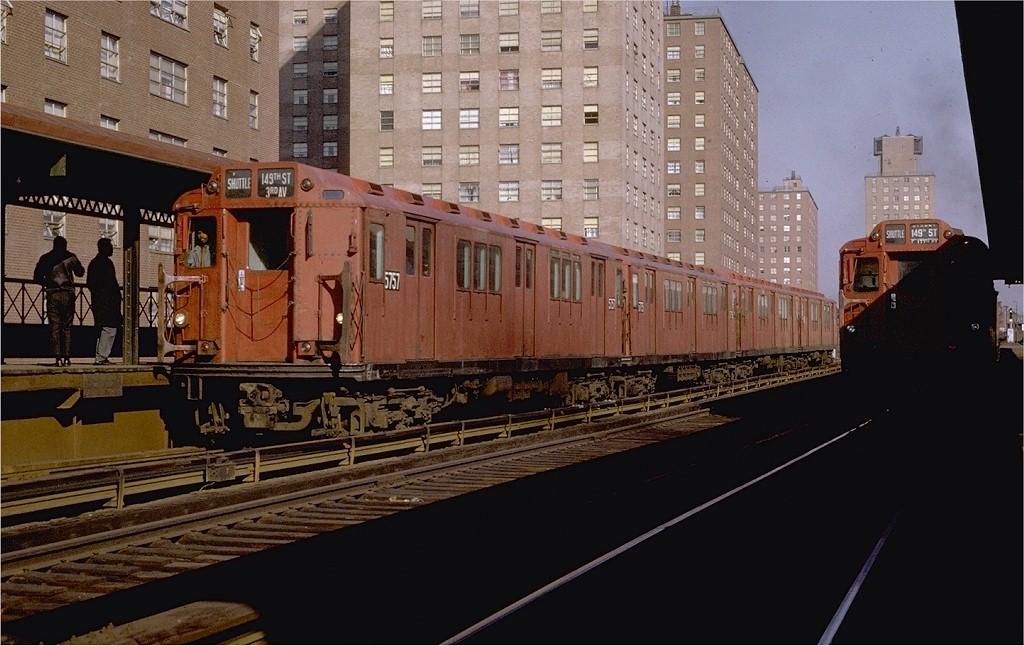 (183k, 1024x646)<br><b>Country:</b> United States<br><b>City:</b> New York<br><b>System:</b> New York City Transit<br><b>Line:</b> 3rd Avenue El<br><b>Location:</b> 169th Street <br><b>Route:</b> 8<br><b>Car:</b> R-12 (American Car & Foundry, 1948) 5757 <br><b>Photo by:</b> Joe Testagrose<br><b>Date:</b> 11/29/1969<br><b>Viewed (this week/total):</b> 1 / 4730