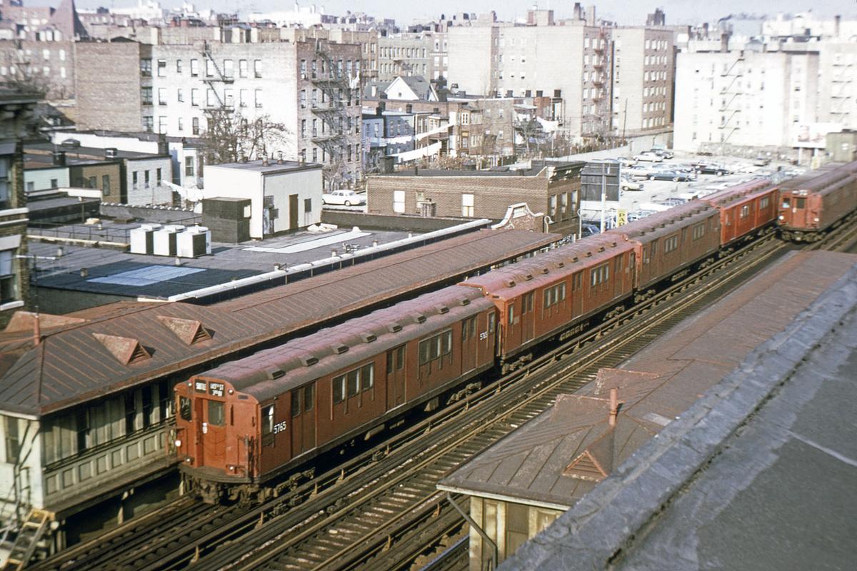 (516k, 1024x683)<br><b>Country:</b> United States<br><b>City:</b> New York<br><b>System:</b> New York City Transit<br><b>Line:</b> 3rd Avenue El<br><b>Location:</b> 204th Street <br><b>Route:</b> 8<br><b>Car:</b> R-12 (American Car & Foundry, 1948) 5765 <br><b>Photo by:</b> Joe Testagrose<br><b>Collection of:</b> David Pirmann<br><b>Date:</b> 11/29/1969<br><b>Viewed (this week/total):</b> 3 / 4819