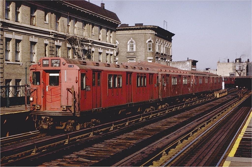 (317k, 1024x681)<br><b>Country:</b> United States<br><b>City:</b> New York<br><b>System:</b> New York City Transit<br><b>Line:</b> 3rd Avenue El<br><b>Location:</b> 183rd Street <br><b>Route:</b> 8<br><b>Car:</b> R-12 (American Car & Foundry, 1948) 5766 <br><b>Photo by:</b> Joe Testagrose<br><b>Date:</b> 2/6/1971<br><b>Viewed (this week/total):</b> 0 / 3594