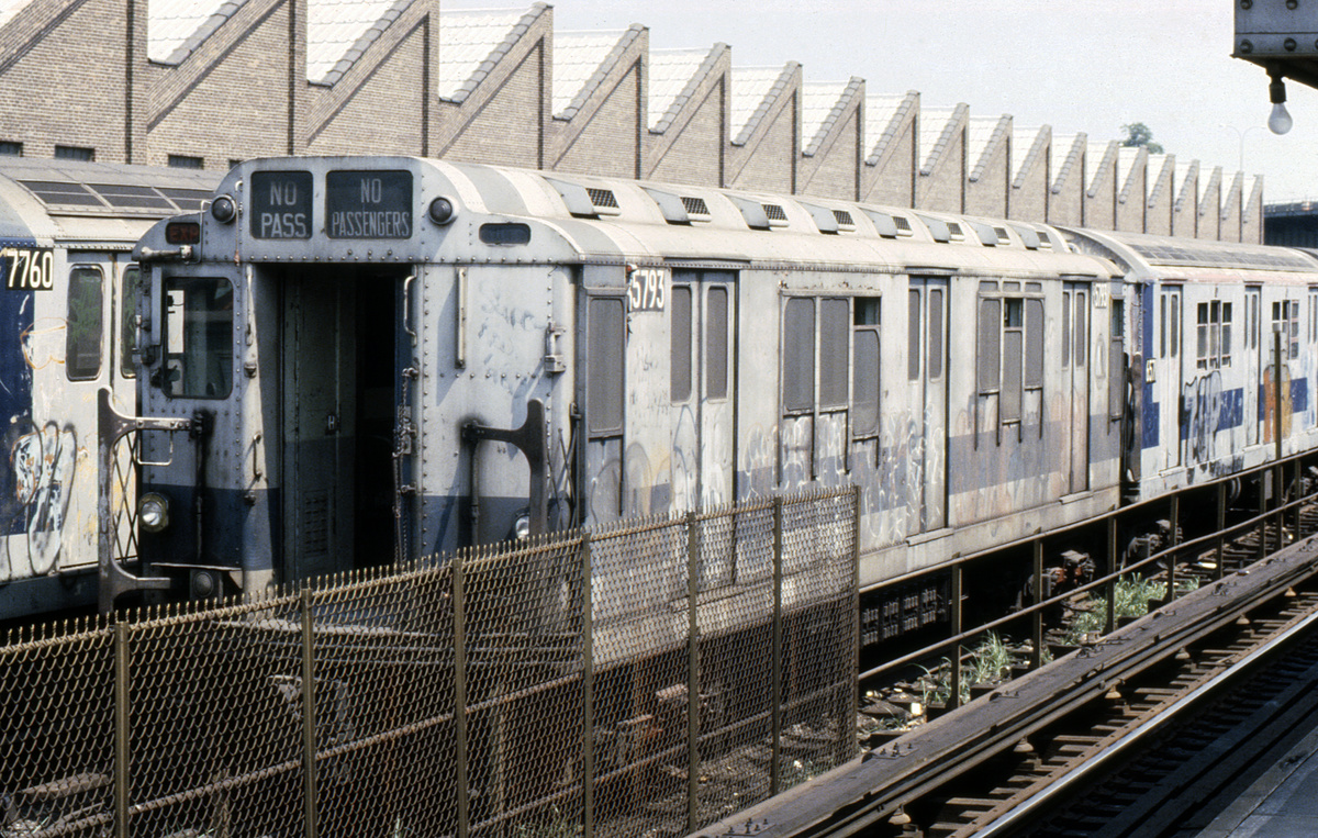 (571k, 1024x683)<br><b>Country:</b> United States<br><b>City:</b> New York<br><b>System:</b> New York City Transit<br><b>Location:</b> East 180th Street Yard<br><b>Car:</b> R-12 (American Car & Foundry, 1948) 5793 <br><b>Photo by:</b> Steve Hoskins<br><b>Collection of:</b> David Pirmann<br><b>Date:</b> 8/1979<br><b>Viewed (this week/total):</b> 0 / 5631