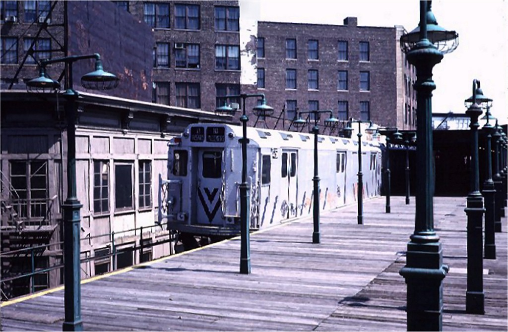 (188k, 1024x670)<br><b>Country:</b> United States<br><b>City:</b> New York<br><b>System:</b> New York City Transit<br><b>Line:</b> 3rd Avenue El<br><b>Location:</b> 149th Street<br><b>Route:</b> 8<br><b>Car:</b> R-12 (American Car & Foundry, 1948) E45 (ex-5714)<br><b>Photo by:</b> Steve Zabel<br><b>Collection of:</b> Joe Testagrose<br><b>Date:</b> 5/1/1973<br><b>Viewed (this week/total):</b> 4 / 11303