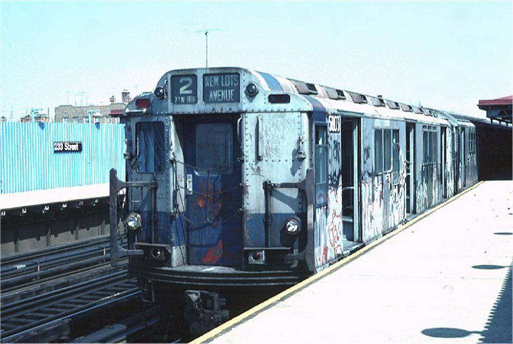 (163k, 1024x687)<br><b>Country:</b> United States<br><b>City:</b> New York<br><b>System:</b> New York City Transit<br><b>Line:</b> IRT White Plains Road Line<br><b>Location:</b> 233rd Street <br><b>Route:</b> 2<br><b>Car:</b> R-14 (American Car & Foundry, 1949) 5803 <br><b>Photo by:</b> Doug Grotjahn<br><b>Collection of:</b> Joe Testagrose<br><b>Date:</b> 4/17/1976<br><b>Viewed (this week/total):</b> 6 / 5968