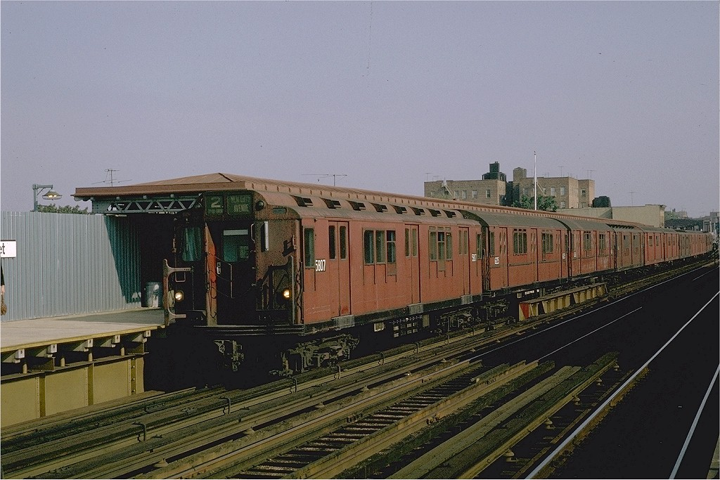 (209k, 1024x683)<br><b>Country:</b> United States<br><b>City:</b> New York<br><b>System:</b> New York City Transit<br><b>Line:</b> IRT White Plains Road Line<br><b>Location:</b> 219th Street <br><b>Route:</b> 2<br><b>Car:</b> R-14 (American Car & Foundry, 1949) 5807 <br><b>Photo by:</b> Joe Testagrose<br><b>Date:</b> 10/1/1970<br><b>Viewed (this week/total):</b> 0 / 3899