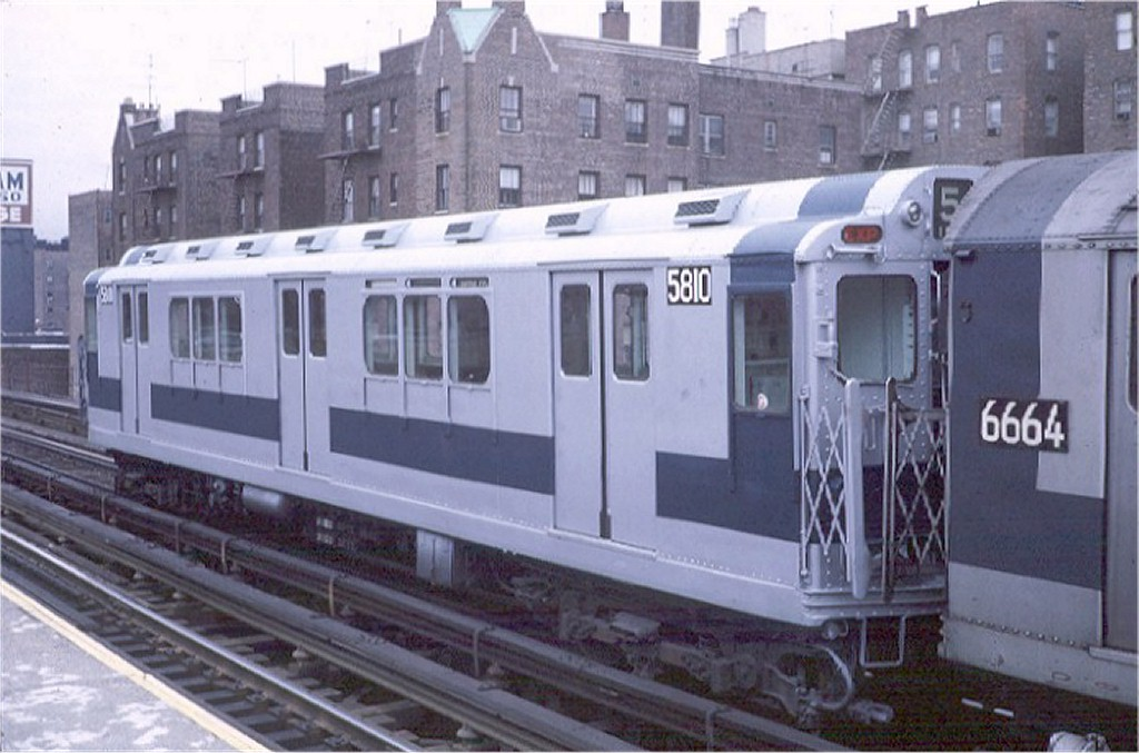 (161k, 1024x677)<br><b>Country:</b> United States<br><b>City:</b> New York<br><b>System:</b> New York City Transit<br><b>Line:</b> IRT Woodlawn Line<br><b>Location:</b> 183rd Street <br><b>Route:</b> 4<br><b>Car:</b> R-14 (American Car & Foundry, 1949) 5810 <br><b>Photo by:</b> Steve Zabel<br><b>Collection of:</b> Joe Testagrose<br><b>Date:</b> 1/9/1971<br><b>Viewed (this week/total):</b> 2 / 3174