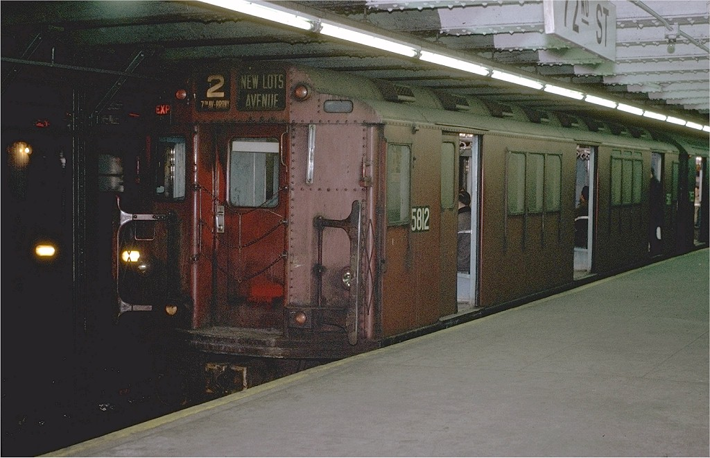 (195k, 1024x660)<br><b>Country:</b> United States<br><b>City:</b> New York<br><b>System:</b> New York City Transit<br><b>Line:</b> IRT West Side Line<br><b>Location:</b> 72nd Street <br><b>Route:</b> 2<br><b>Car:</b> R-14 (American Car & Foundry, 1949) 5812 <br><b>Photo by:</b> Joe Testagrose<br><b>Date:</b> 1/23/1971<br><b>Viewed (this week/total):</b> 2 / 4006