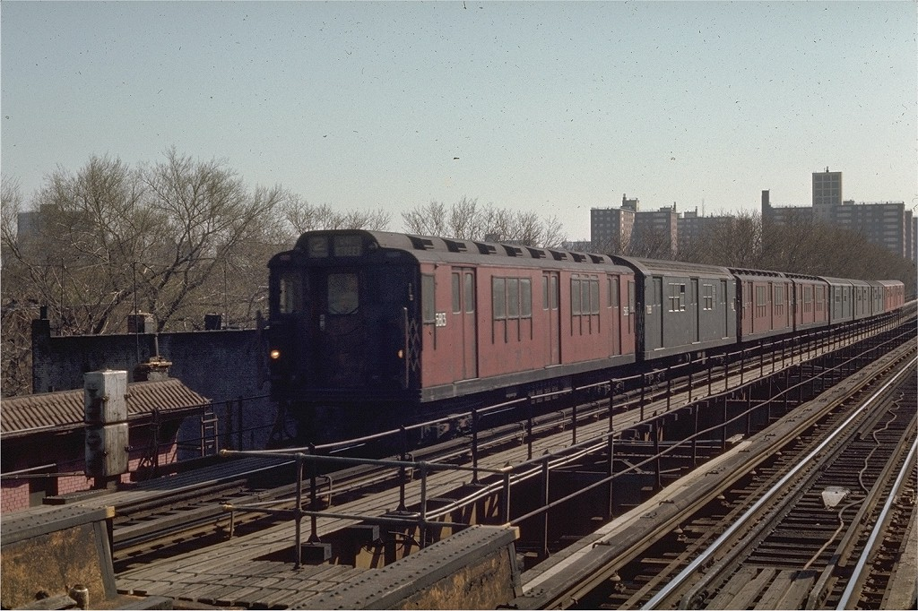 (236k, 1024x682)<br><b>Country:</b> United States<br><b>City:</b> New York<br><b>System:</b> New York City Transit<br><b>Line:</b> IRT Brooklyn Line<br><b>Location:</b> Saratoga Avenue <br><b>Route:</b> 2<br><b>Car:</b> R-14 (American Car & Foundry, 1949) 5813 <br><b>Photo by:</b> Joe Testagrose<br><b>Date:</b> 4/25/1970<br><b>Viewed (this week/total):</b> 0 / 4506