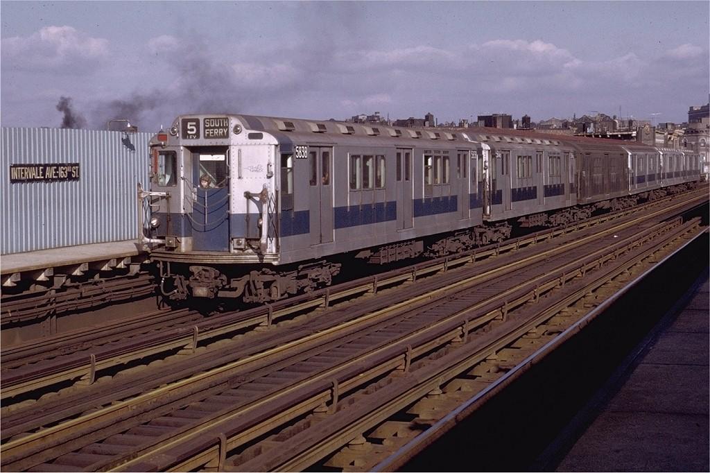 (209k, 1024x682)<br><b>Country:</b> United States<br><b>City:</b> New York<br><b>System:</b> New York City Transit<br><b>Line:</b> IRT White Plains Road Line<br><b>Location:</b> Intervale Avenue <br><b>Route:</b> 5<br><b>Car:</b> R-14 (American Car & Foundry, 1949) 5838 <br><b>Photo by:</b> Joe Testagrose<br><b>Date:</b> 11/28/1971<br><b>Viewed (this week/total):</b> 1 / 3274