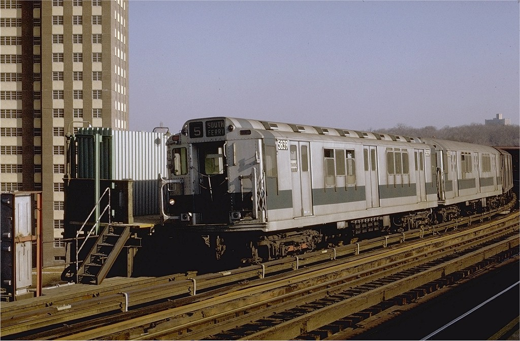 (219k, 1024x672)<br><b>Country:</b> United States<br><b>City:</b> New York<br><b>System:</b> New York City Transit<br><b>Line:</b> IRT White Plains Road Line<br><b>Location:</b> West Farms Sq./East Tremont Ave./177th St. <br><b>Route:</b> 5<br><b>Car:</b> R-14 (American Car & Foundry, 1949) 5839 <br><b>Photo by:</b> Joe Testagrose<br><b>Date:</b> 2/6/1971<br><b>Viewed (this week/total):</b> 1 / 3358