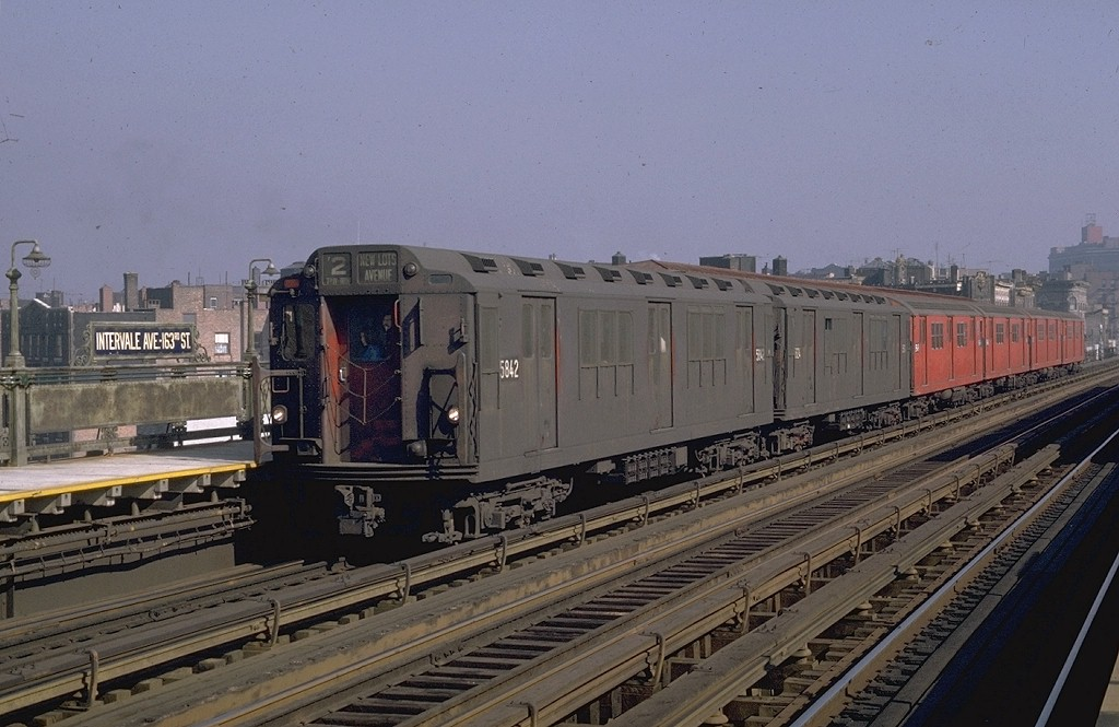 (182k, 1024x665)<br><b>Country:</b> United States<br><b>City:</b> New York<br><b>System:</b> New York City Transit<br><b>Line:</b> IRT White Plains Road Line<br><b>Location:</b> Intervale Avenue <br><b>Route:</b> 2<br><b>Car:</b> R-14 (American Car & Foundry, 1949) 5842 <br><b>Photo by:</b> Joe Testagrose<br><b>Date:</b> 10/26/1969<br><b>Viewed (this week/total):</b> 1 / 3430