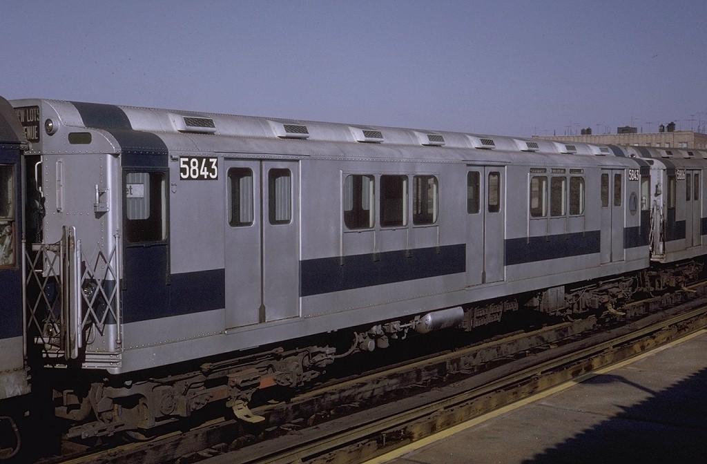 (169k, 1024x672)<br><b>Country:</b> United States<br><b>City:</b> New York<br><b>System:</b> New York City Transit<br><b>Line:</b> IRT White Plains Road Line<br><b>Location:</b> 225th Street <br><b>Route:</b> 5<br><b>Car:</b> R-14 (American Car & Foundry, 1949) 5843 <br><b>Photo by:</b> Steve Zabel<br><b>Collection of:</b> Joe Testagrose<br><b>Date:</b> 2/6/1971<br><b>Viewed (this week/total):</b> 0 / 3249