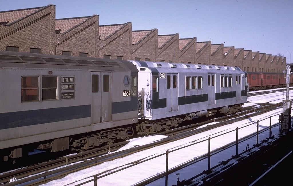 (203k, 1024x653)<br><b>Country:</b> United States<br><b>City:</b> New York<br><b>System:</b> New York City Transit<br><b>Location:</b> East 180th Street Yard<br><b>Car:</b> R-14 (American Car & Foundry, 1949) 5870 <br><b>Photo by:</b> Steve Zabel<br><b>Collection of:</b> Joe Testagrose<br><b>Date:</b> 1/3/1971<br><b>Viewed (this week/total):</b> 2 / 2798