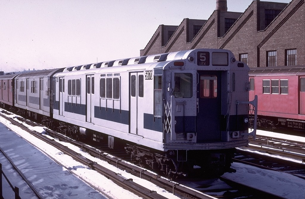 (207k, 1024x670)<br><b>Country:</b> United States<br><b>City:</b> New York<br><b>System:</b> New York City Transit<br><b>Location:</b> East 180th Street Yard<br><b>Car:</b> R-14 (American Car & Foundry, 1949) 5870 <br><b>Photo by:</b> Doug Grotjahn<br><b>Collection of:</b> Joe Testagrose<br><b>Date:</b> 1/3/1971<br><b>Viewed (this week/total):</b> 4 / 3233
