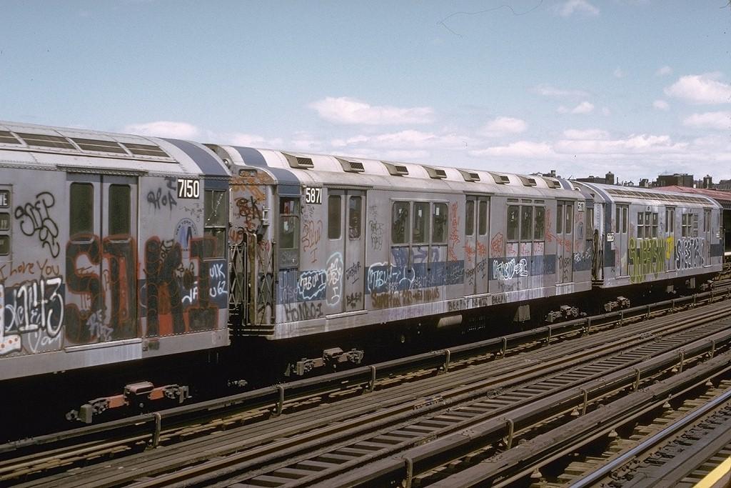 (224k, 1024x683)<br><b>Country:</b> United States<br><b>City:</b> New York<br><b>System:</b> New York City Transit<br><b>Line:</b> IRT White Plains Road Line<br><b>Location:</b> Intervale Avenue <br><b>Route:</b> 5<br><b>Car:</b> R-14 (American Car & Foundry, 1949) 5871 <br><b>Photo by:</b> Joe Testagrose<br><b>Date:</b> 5/6/1973<br><b>Viewed (this week/total):</b> 0 / 3860