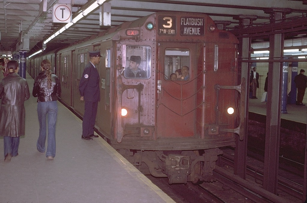(217k, 1024x680)<br><b>Country:</b> United States<br><b>City:</b> New York<br><b>System:</b> New York City Transit<br><b>Line:</b> IRT West Side Line<br><b>Location:</b> 96th Street <br><b>Route:</b> 3<br><b>Car:</b> R-14 (American Car & Foundry, 1949) 5885 <br><b>Photo by:</b> Joe Testagrose<br><b>Date:</b> 11/21/1970<br><b>Viewed (this week/total):</b> 1 / 4338