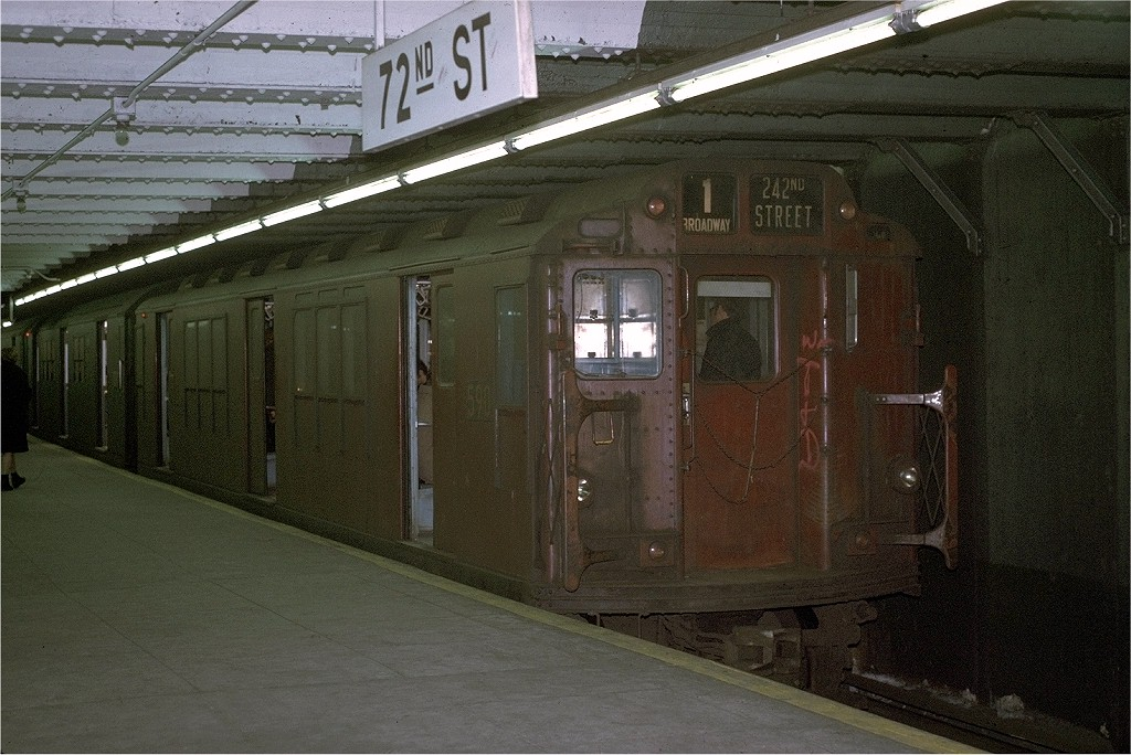 (214k, 1024x684)<br><b>Country:</b> United States<br><b>City:</b> New York<br><b>System:</b> New York City Transit<br><b>Line:</b> IRT West Side Line<br><b>Location:</b> 72nd Street <br><b>Route:</b> 1<br><b>Car:</b> R-14 (American Car & Foundry, 1949) 5901 <br><b>Photo by:</b> Joe Testagrose<br><b>Date:</b> 1/30/1971<br><b>Viewed (this week/total):</b> 0 / 2899